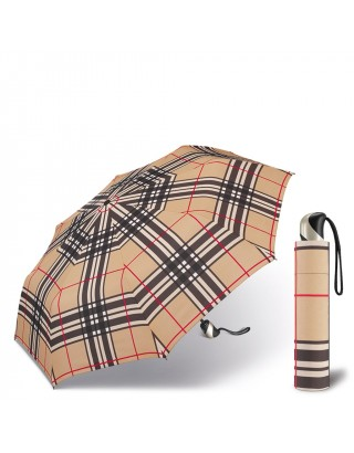 HAPPY RAIN PARAPLUIE EASYMATIC ULTRA LIGHT 34020 CHECKS CAMEL